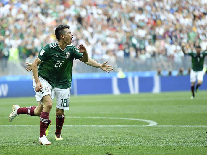 Irving Lozano festeja su gol ante los alemanes en la victoria de México en el Mundial Rusia 2018 (Foto: Femexfut)