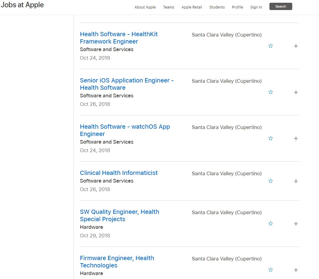 Vacantes de Apple relativas al sector salud (Fuente: Apple)