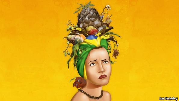 En la más reciente portada de la revista de The Economist se observa a la fallecida Carmen Miranda, cantante brasileña, con un tocado de frutas podridas.