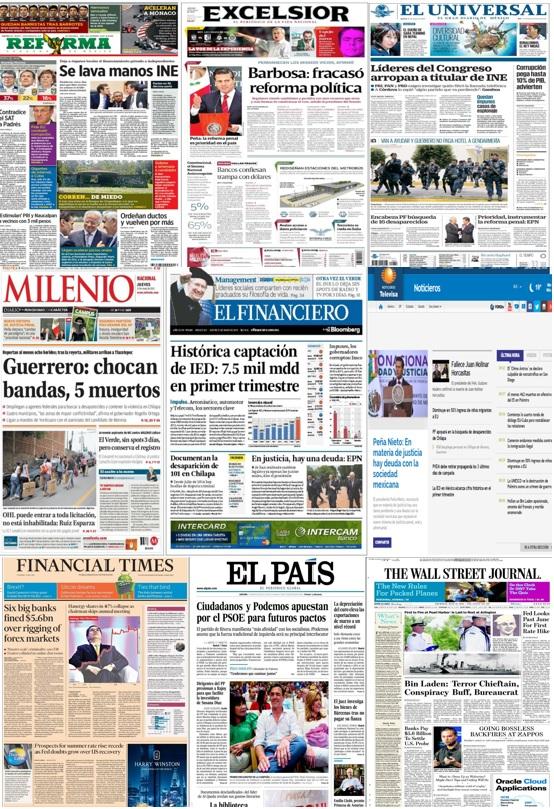 Principales encabezados en la prensa nacional  e internacional al 21 de mayo.
