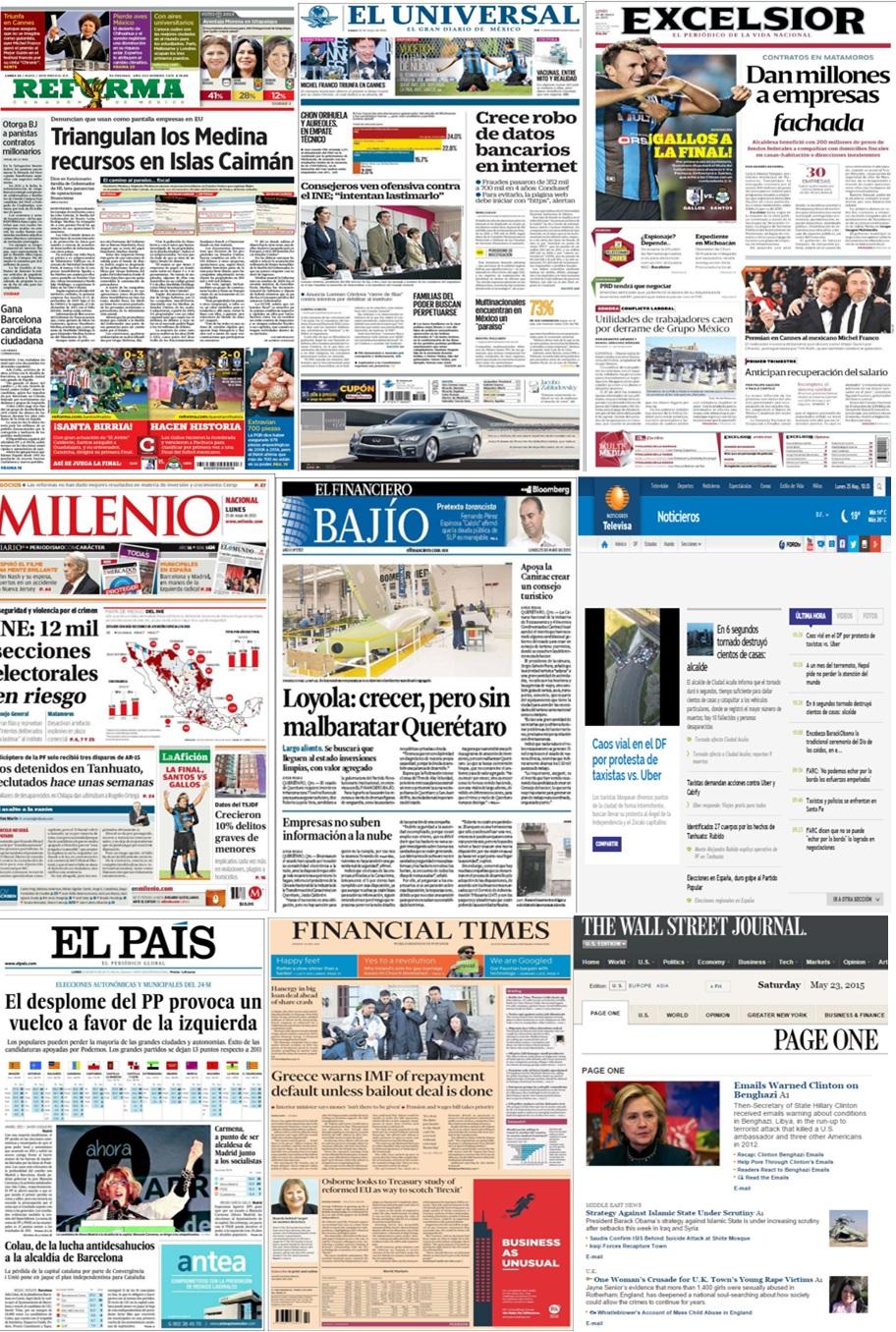Los principales titulares en la prensa nacional e internacional del 25 de mayo.