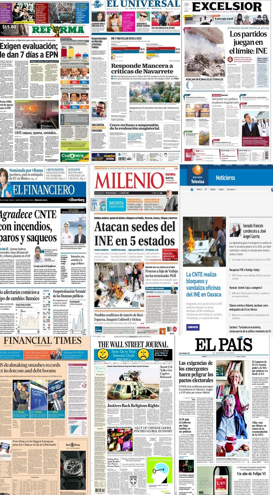 Lo que los principales diarios de México y el mundo publican en sus titulares del 2 de junio.