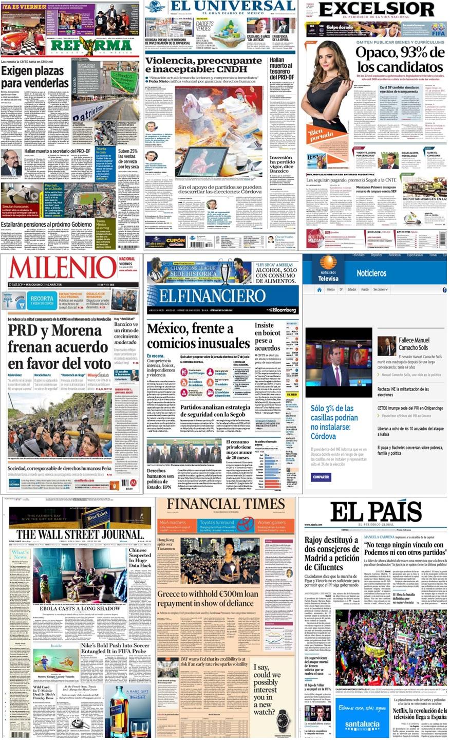 Los principales titulares en la prensa nacional e internacional del 5 junio.