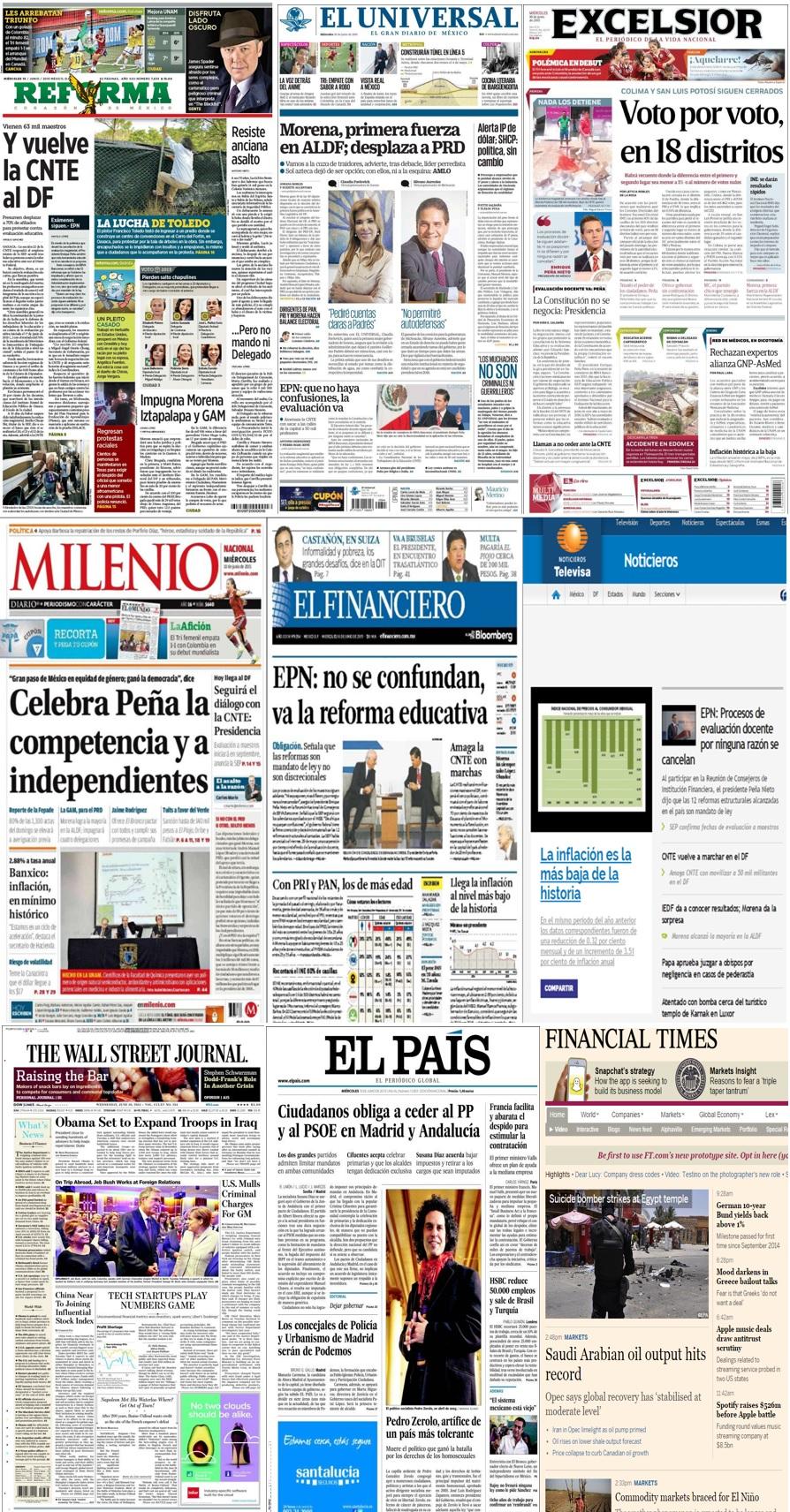 Los principales titulares en la prensa nacional e internacional del 10 de junio.