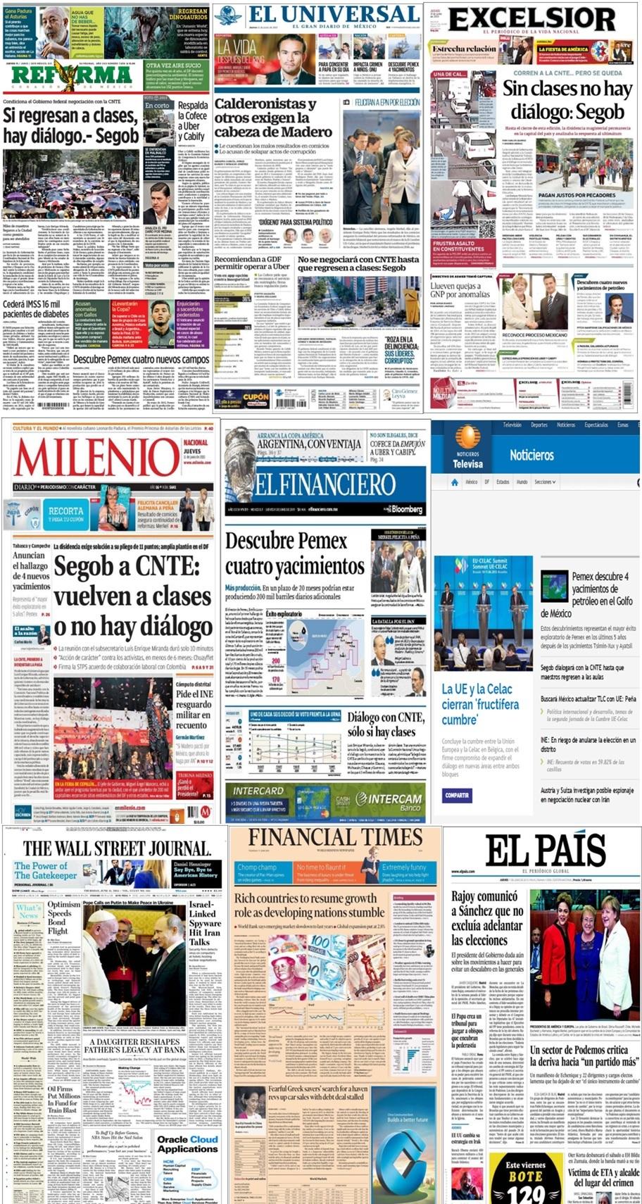 Los principales titulares en la prensa nacional e internacional el 11 de junio.
