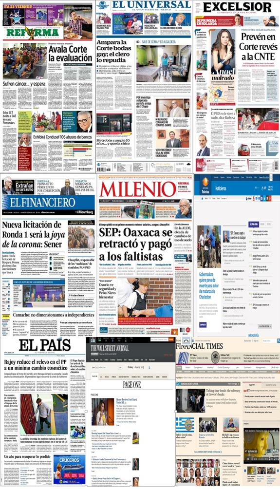 Los principales titulares en la prensa nacional e internacional del 19 de junio.