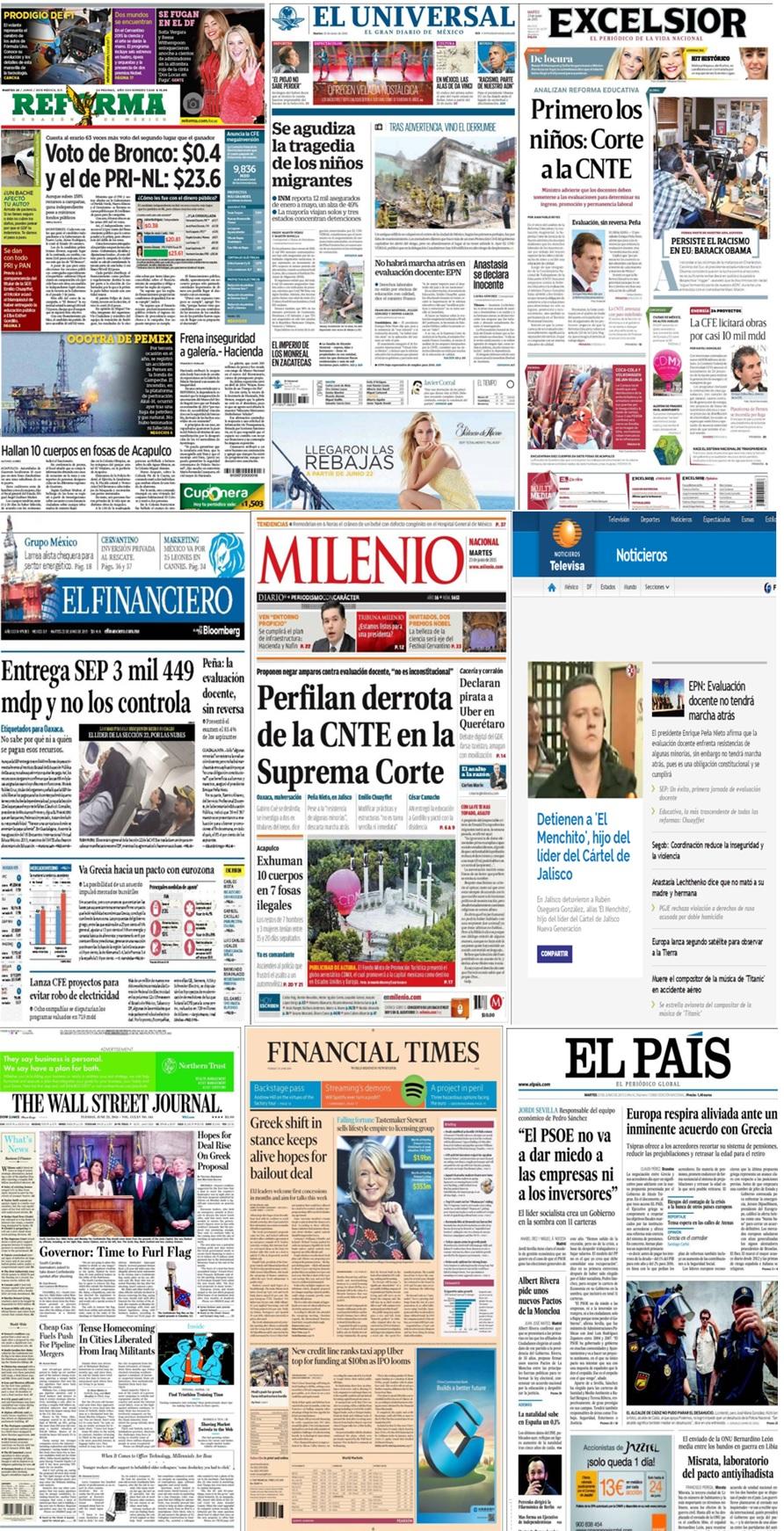 Las principales portadas en la prensa de México y el mundo del 23 de junio.