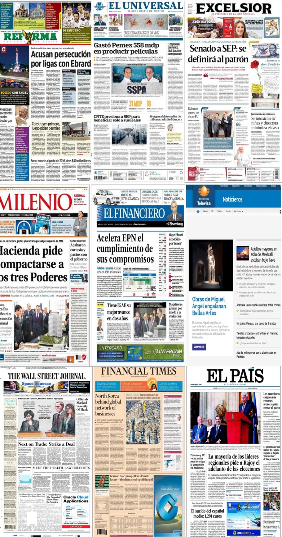 Los principales titulares en la prensa nacional e internacional del 25 de junio.