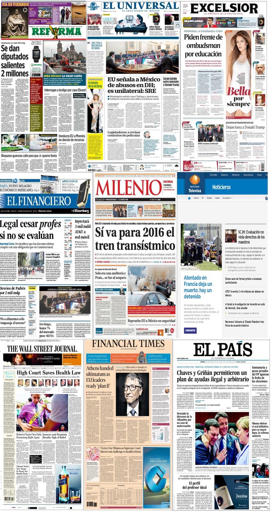 Los principales titulares en la prensa de México y el mundo del 26 de junio.
