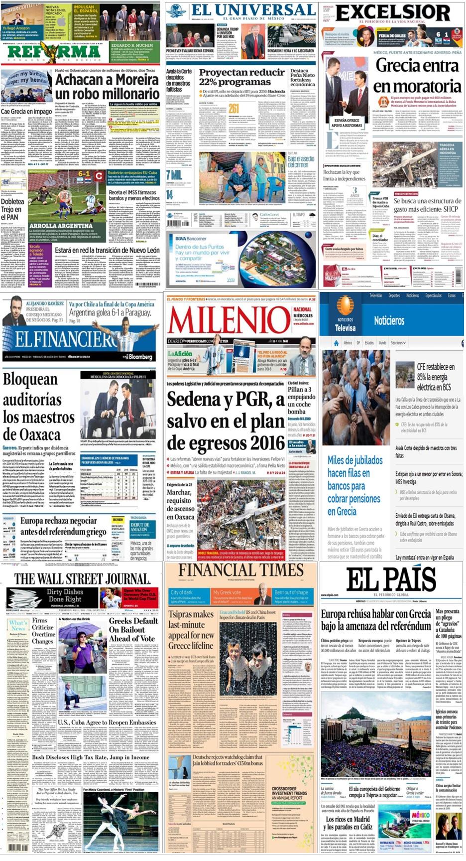 Los principales titulares hoy en la prensa de México y el mundo del 1 de julio.
