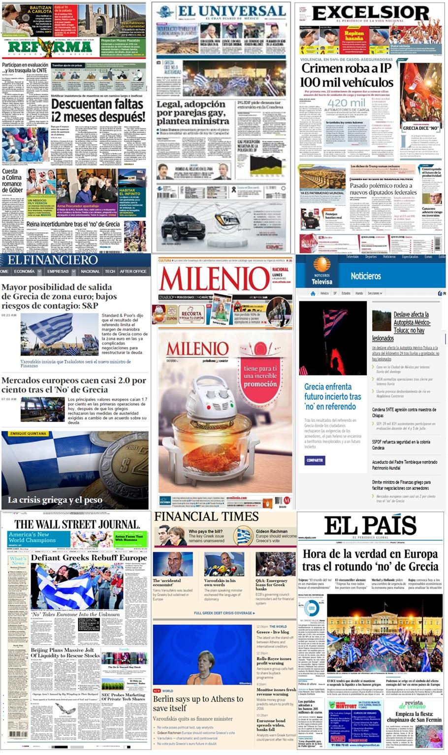 Los principales titulares en la prensa de México y el mundo del 6 de julio.