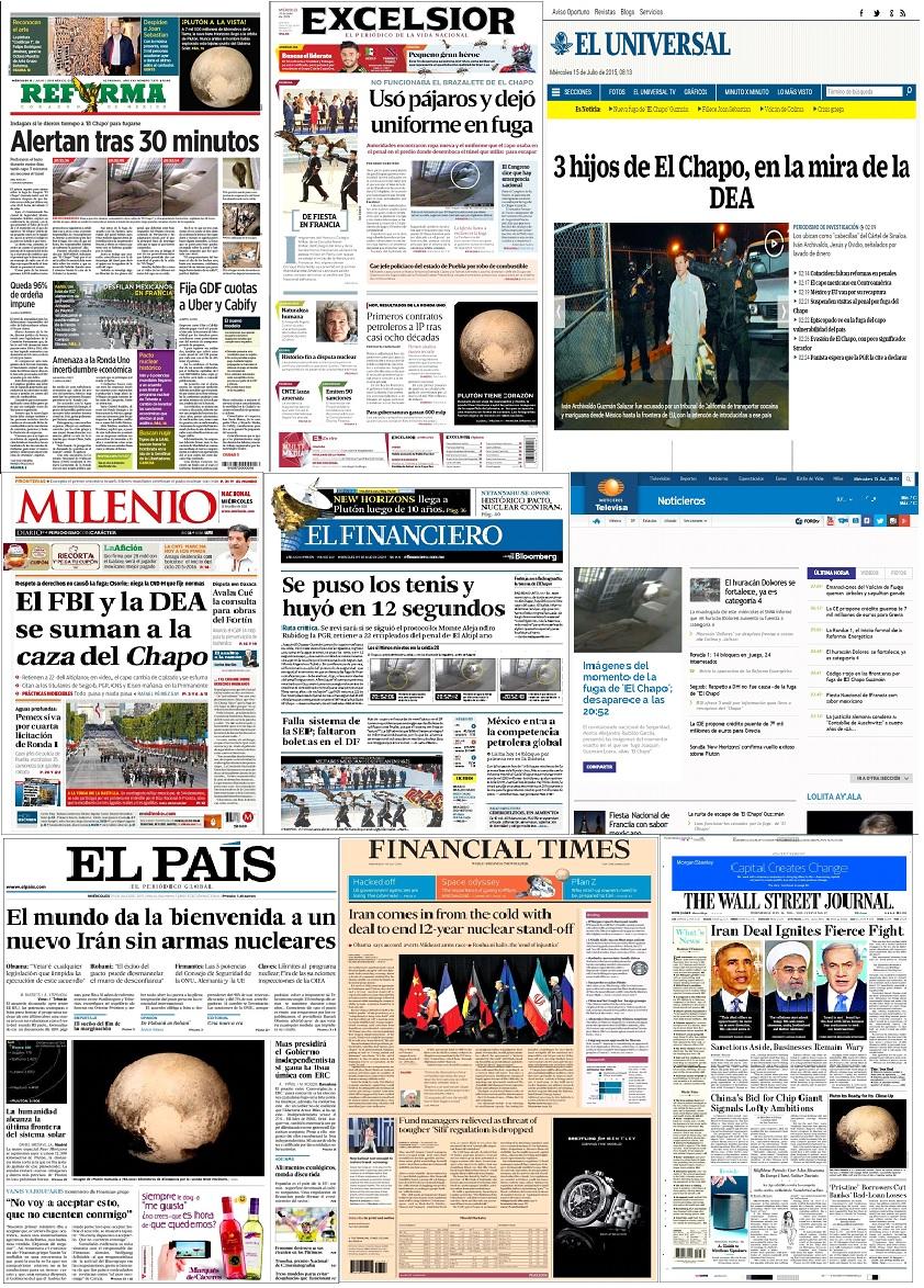 Los principales titulares de México y el mundo del 15 de julio
