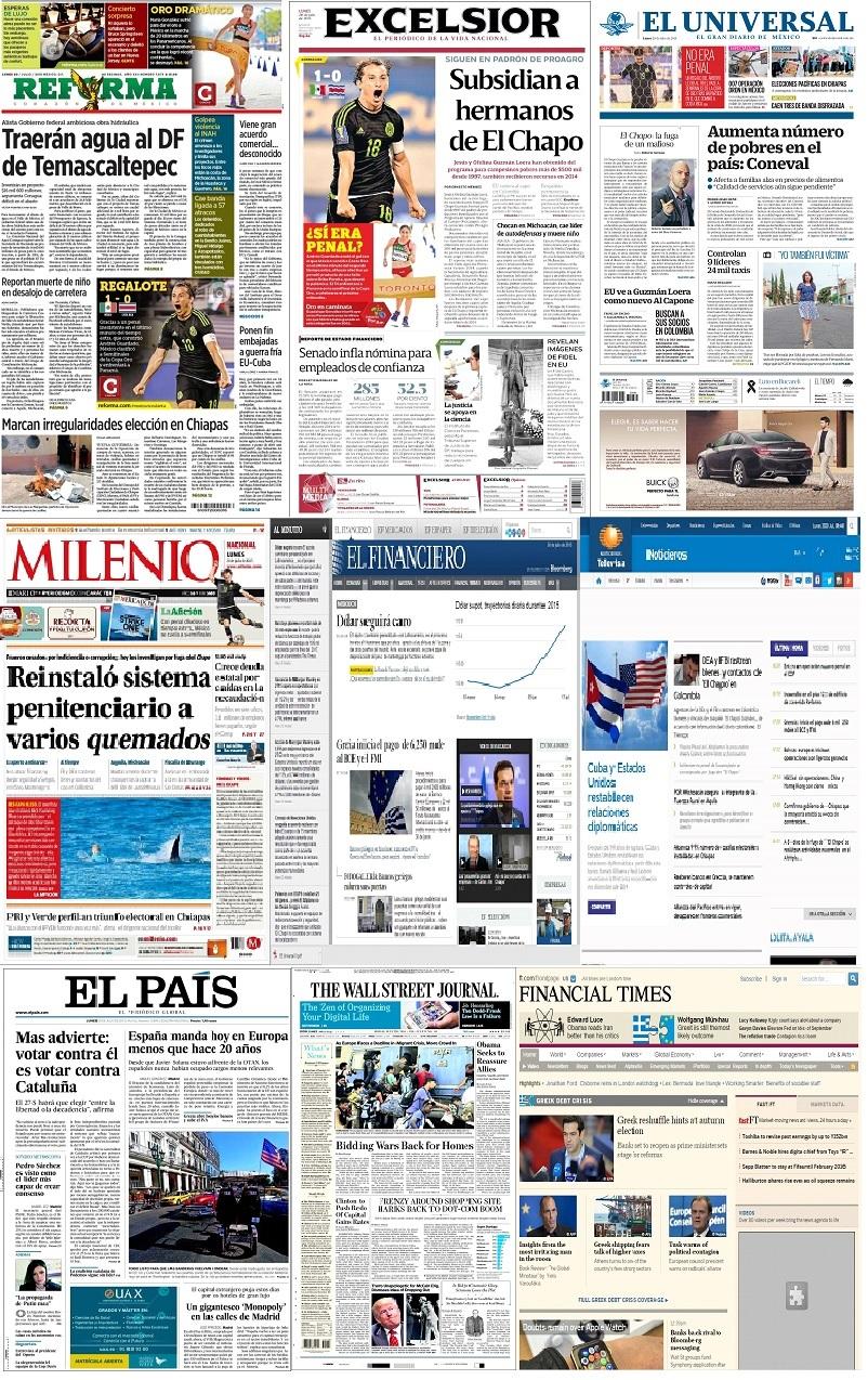 Los principales titulares de México y el mundo del 20 de julio