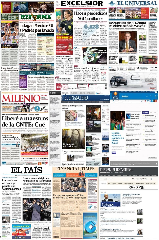 Los principales titulares de México y el mundo del 27 de julio