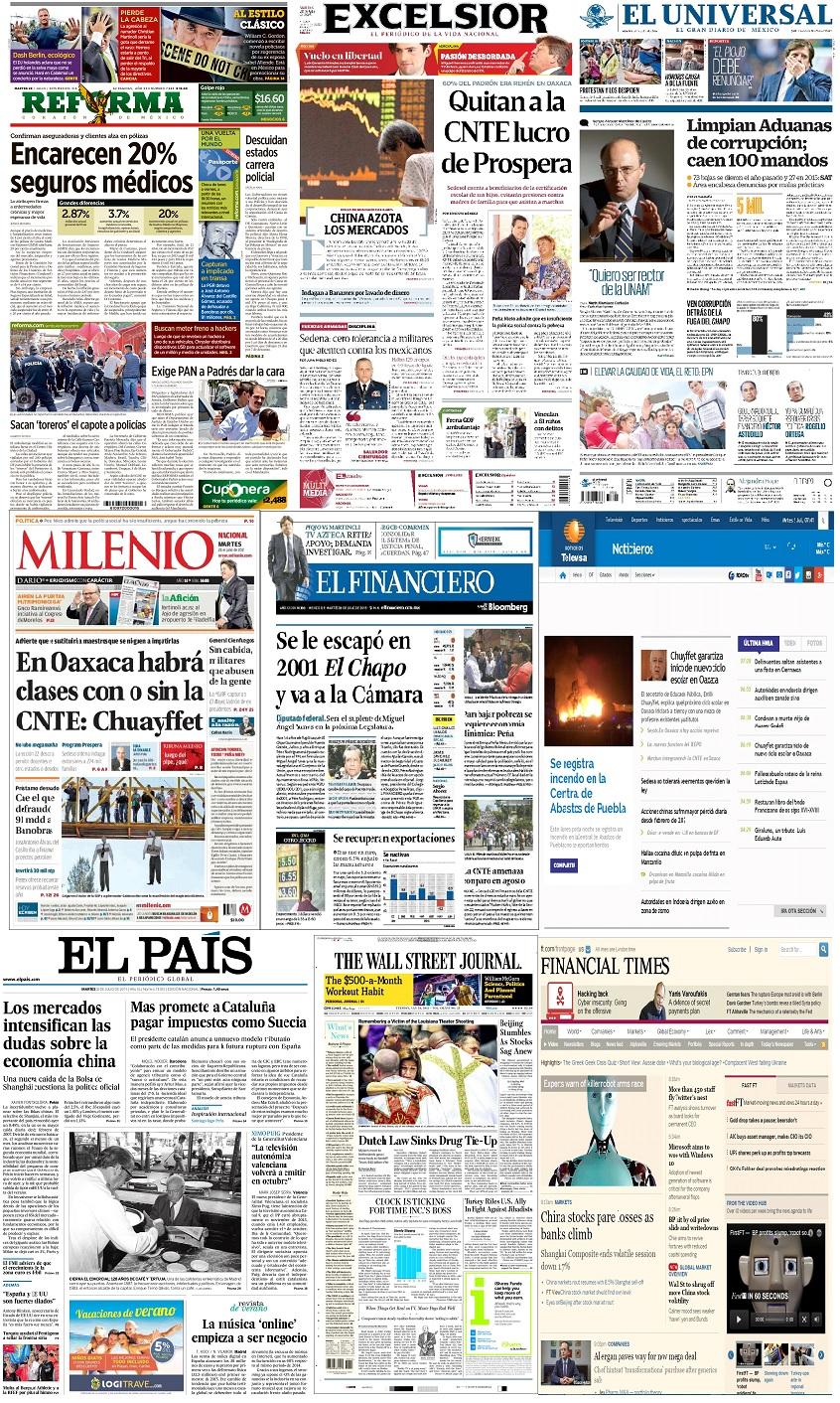 Los principales titulares de México y el mundo del 28 de julio