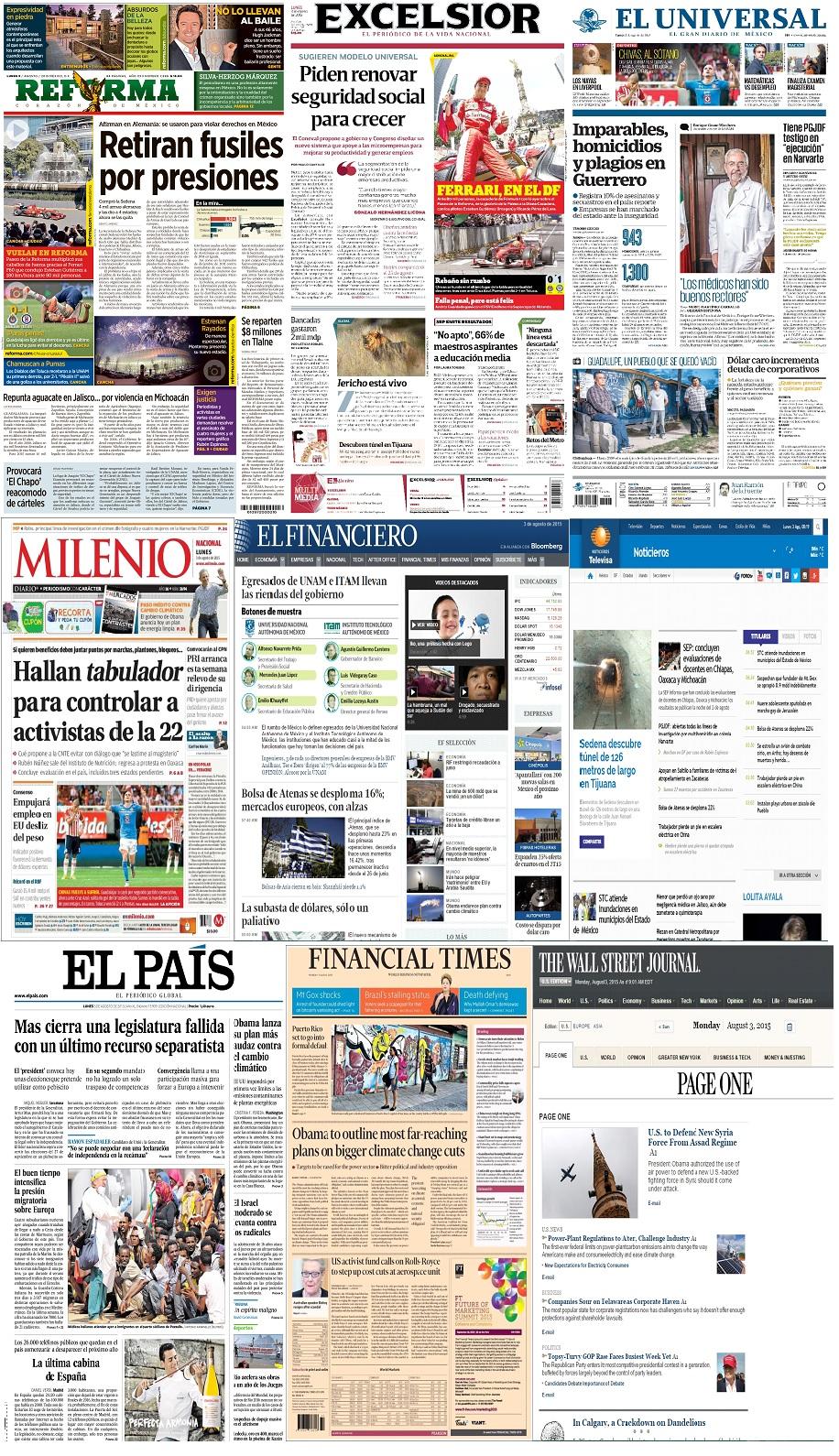Los principales titulares de México y el mundo del 3 de agosto