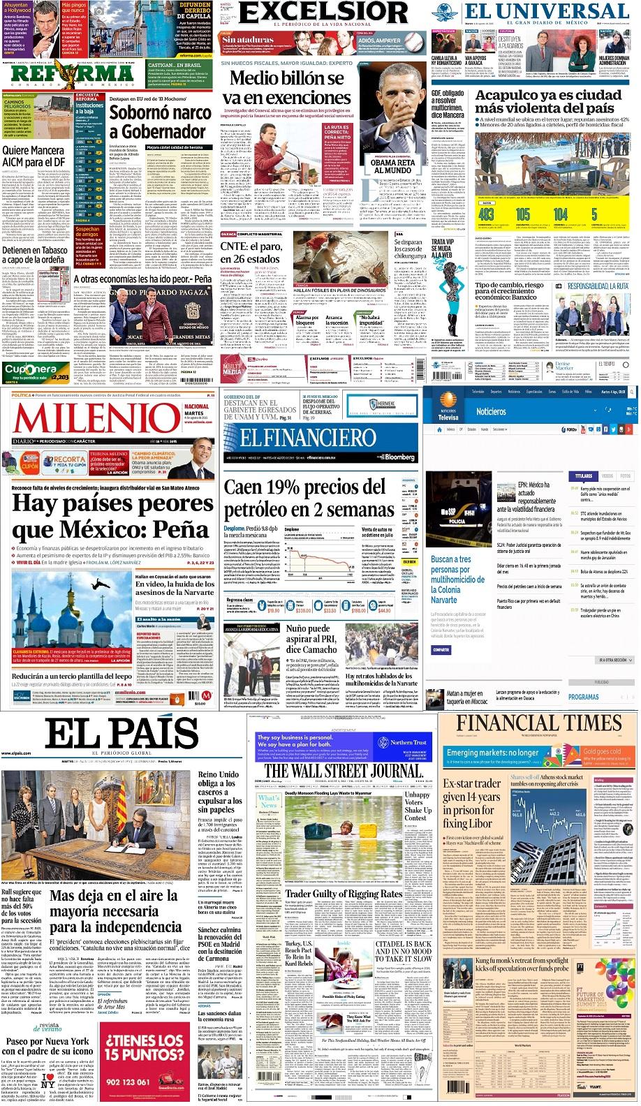 Los principales titulares de México y el mundo del 4 de agosto