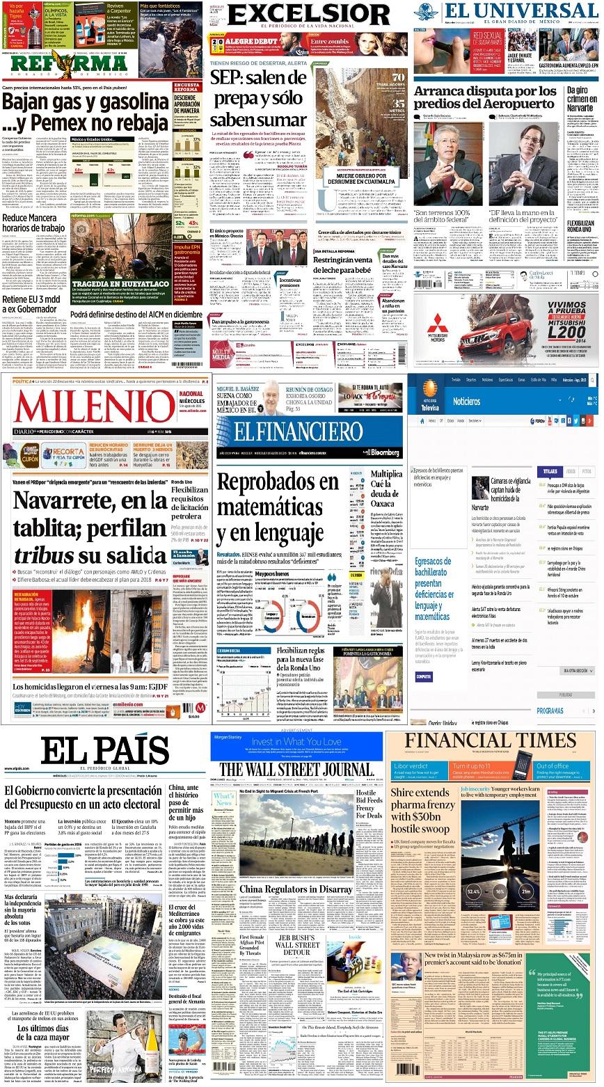 Los principales titulares de México y el mundo del 5 de agosto