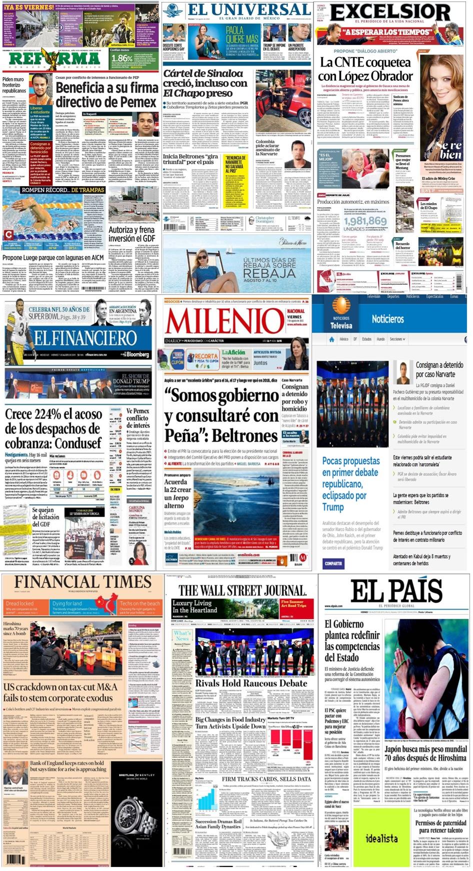 Los principales titulares en la prensa de México y el mundo del 7 de agosto.