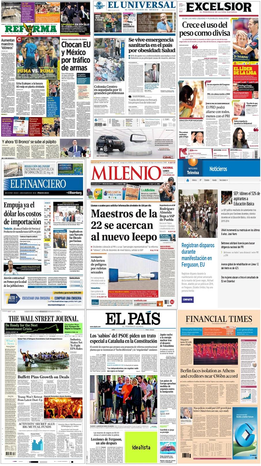 Los principales titulares en la prensa de México y el mundo del 10 de agosto.