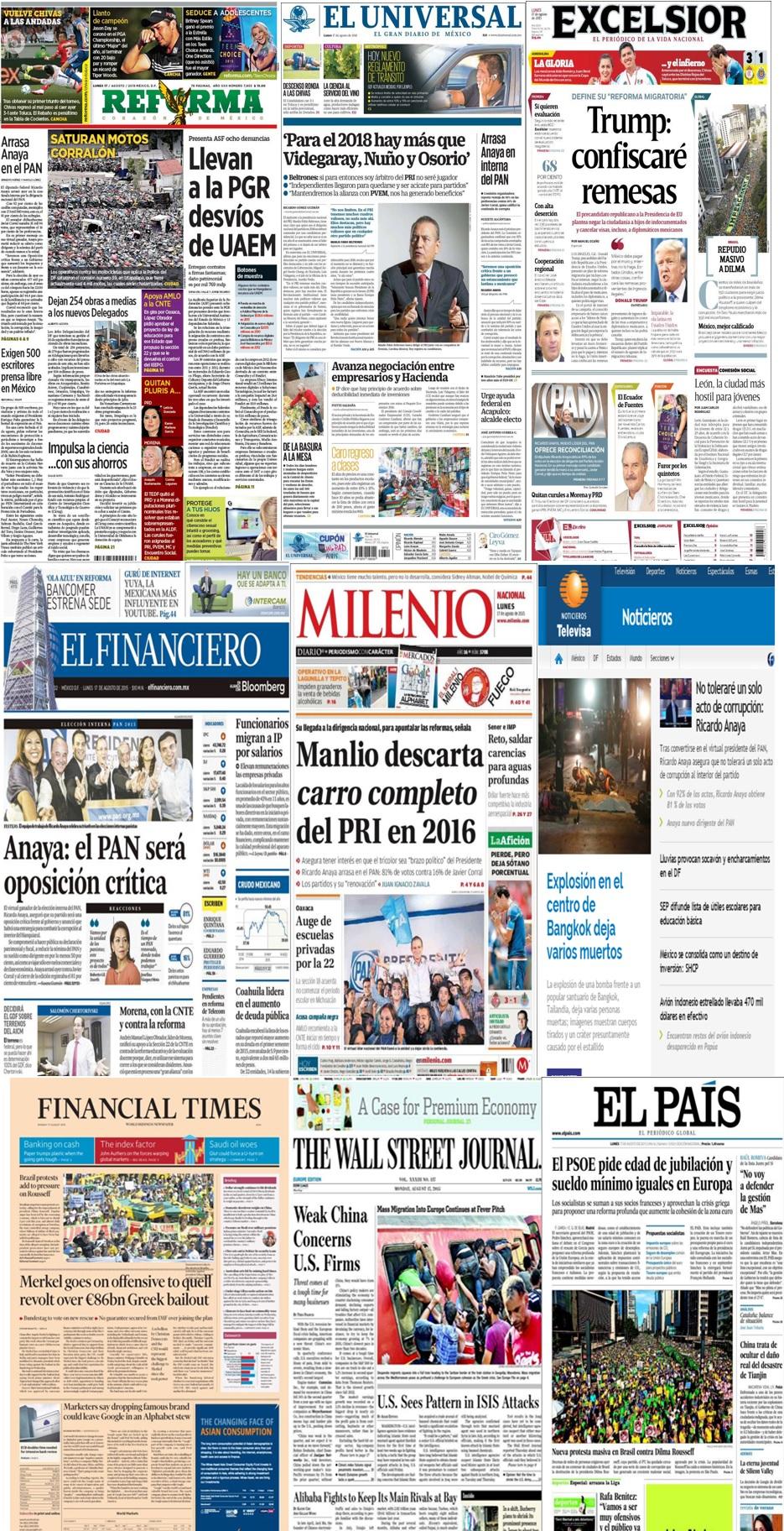 Los principales titulares en la prensa de México y el mundo del 17 de agosto.