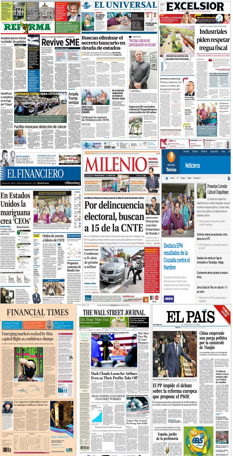 Los principales titulares en la prensa de México y el mundo del 19 de agosto.