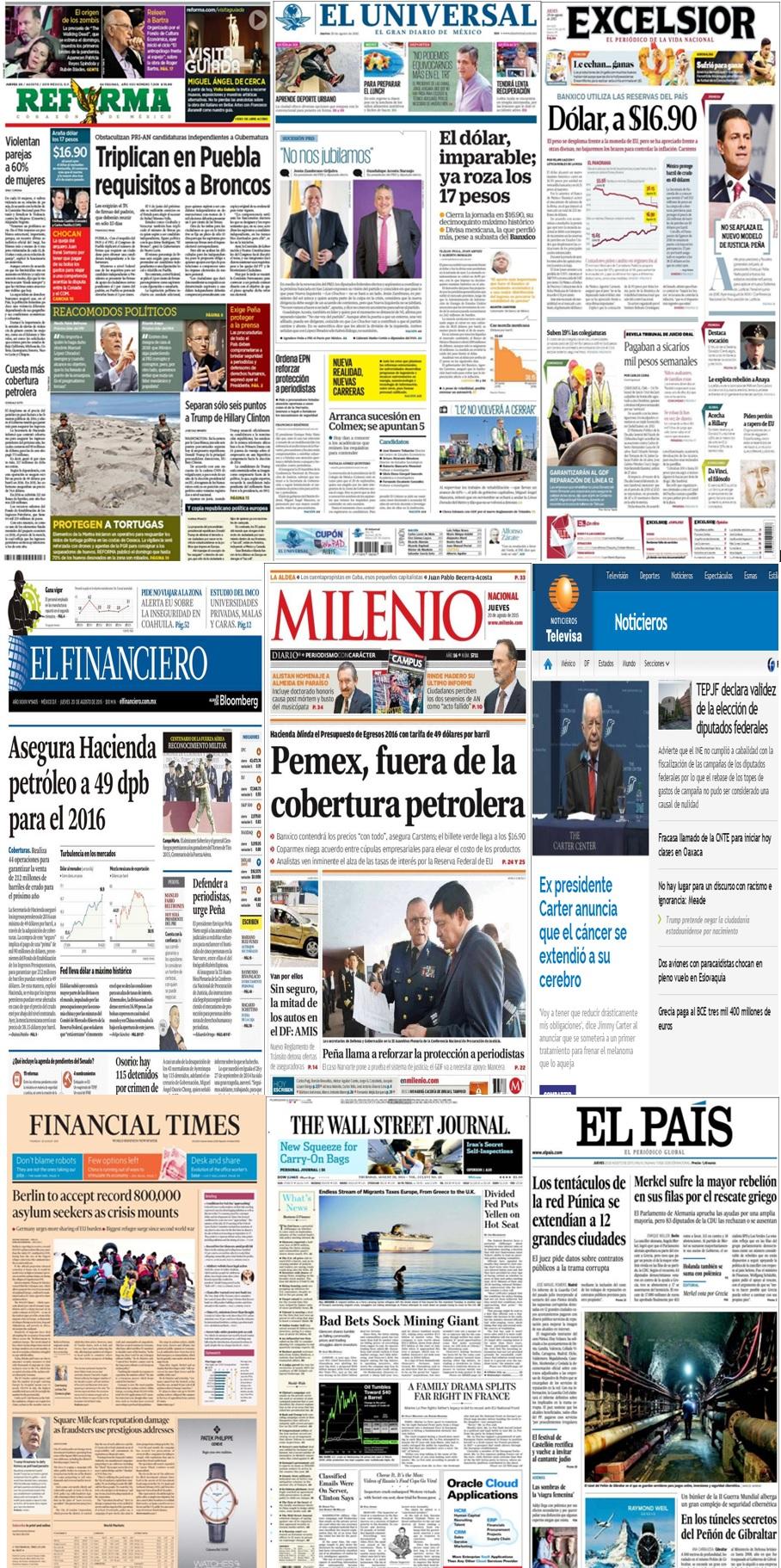 Los principales titulares en la prensa de México y el mundo del 20 de agosto.