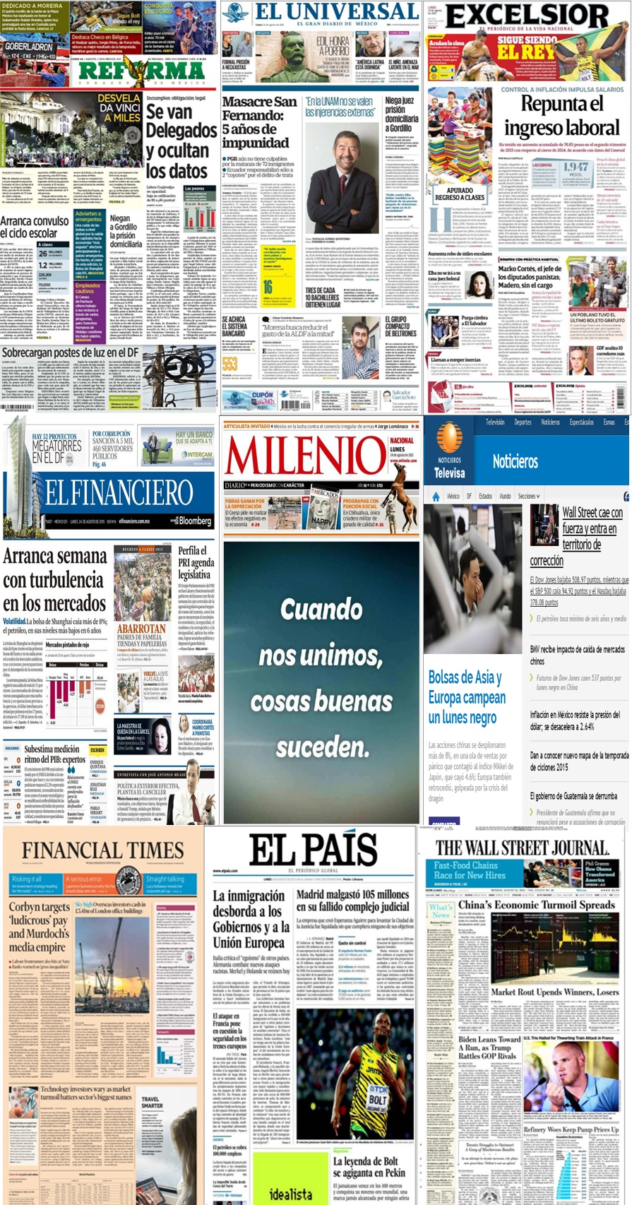 Los principales titulares en la prensa de México y el mundo del 24 de agosto.