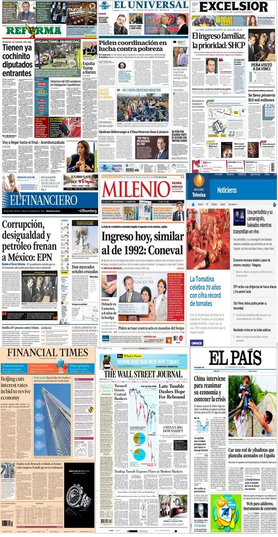 Los principales titulares y portadas en la prensa del 26 de agosto.