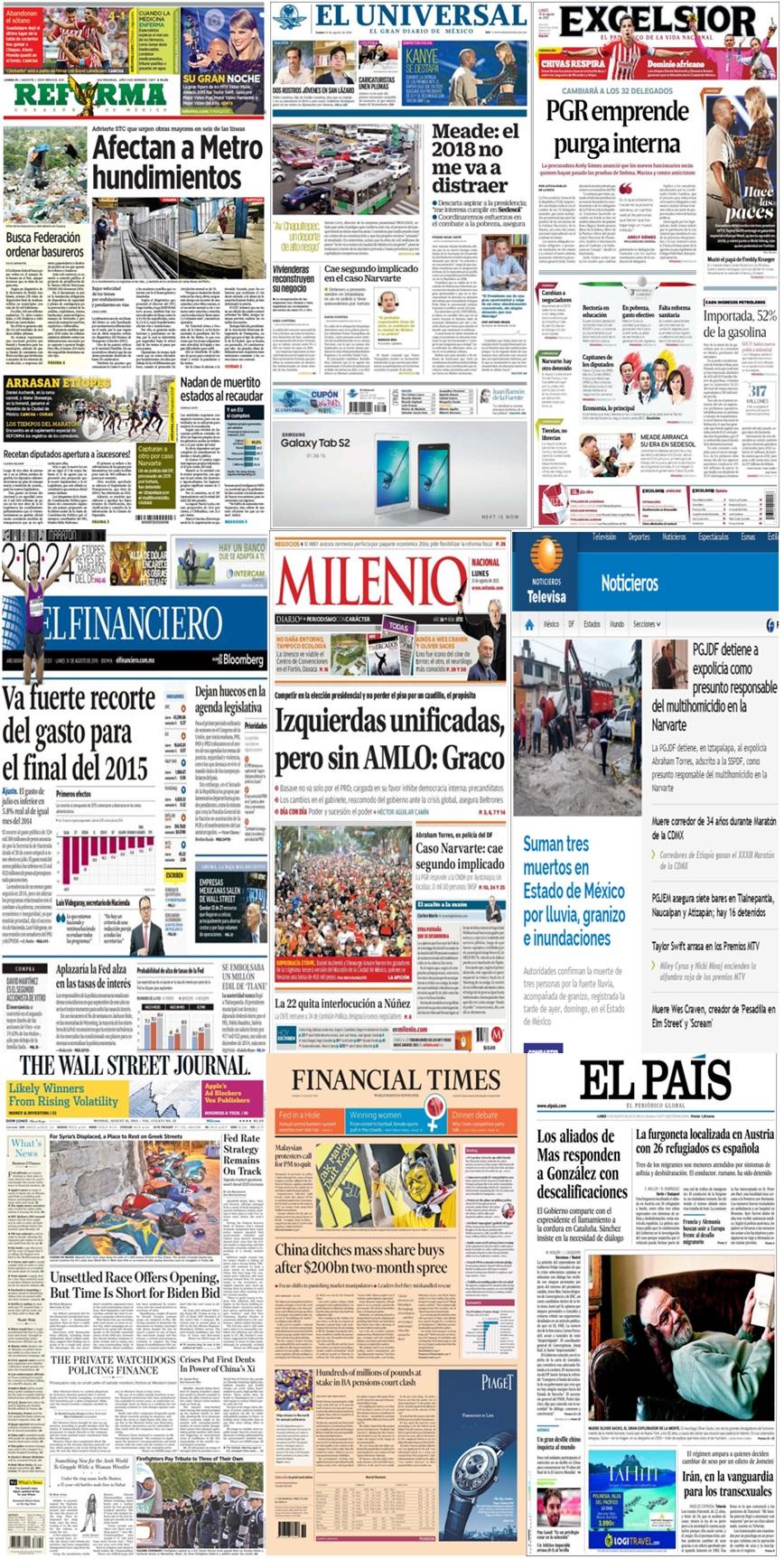 Las portadas en la prensa de México y el mundo del 31 de agosto.