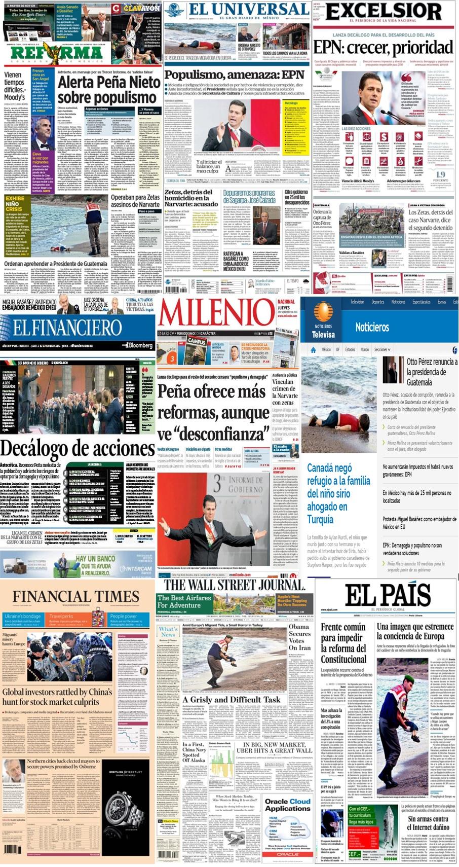 Las portadas en la prensa de México y el mundo del  3 de septiembre.