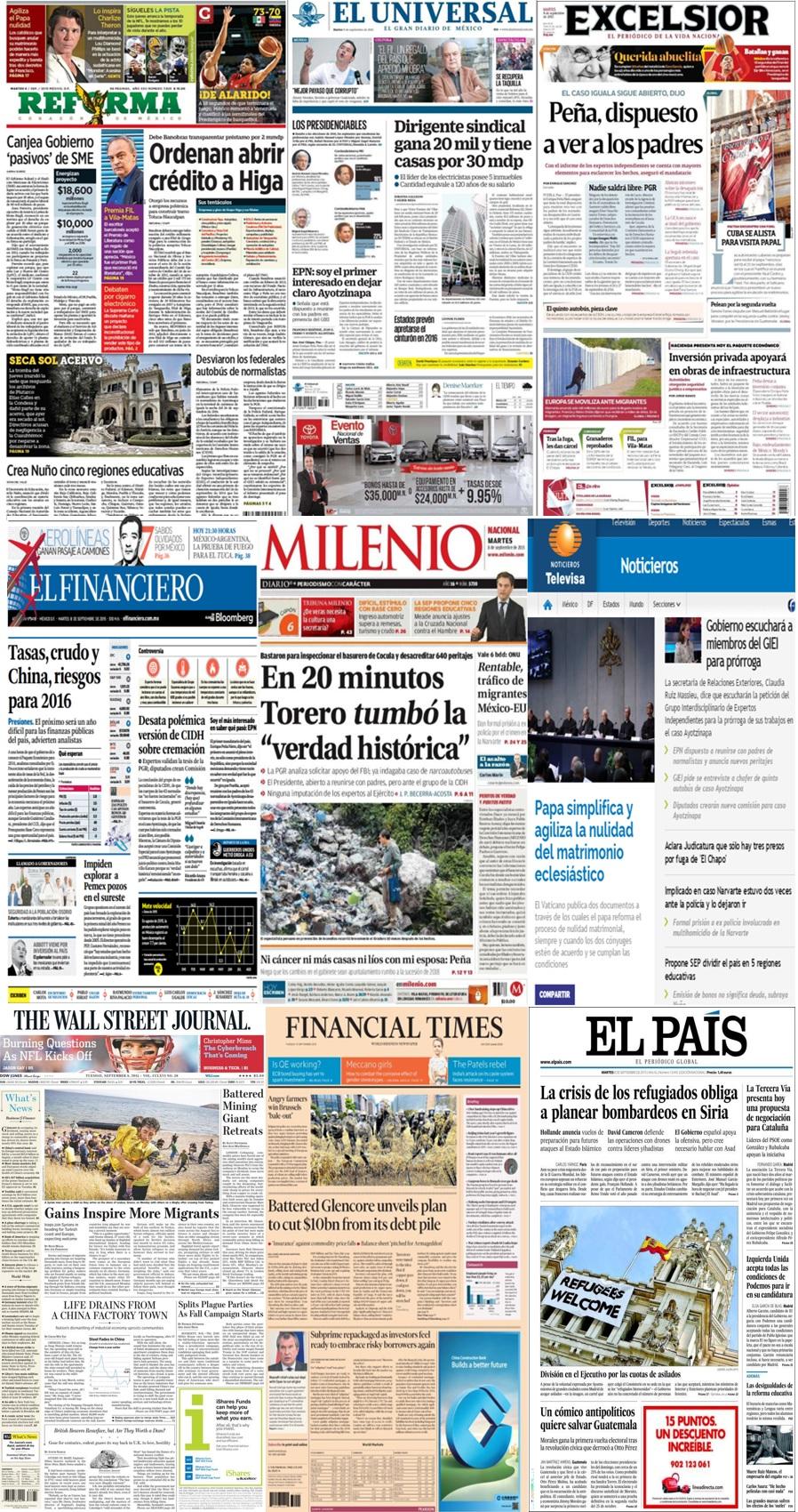 Las principales portadas en la prensa nacional e internacional del 8 de septiembre.