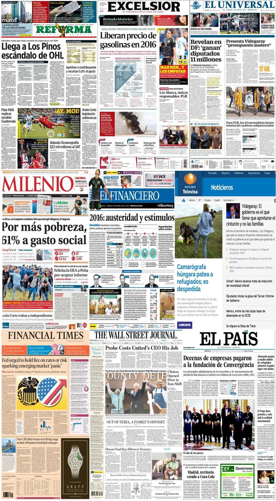 Las principales portadas en la prensa nacional e internacional del 9 de septiembre.