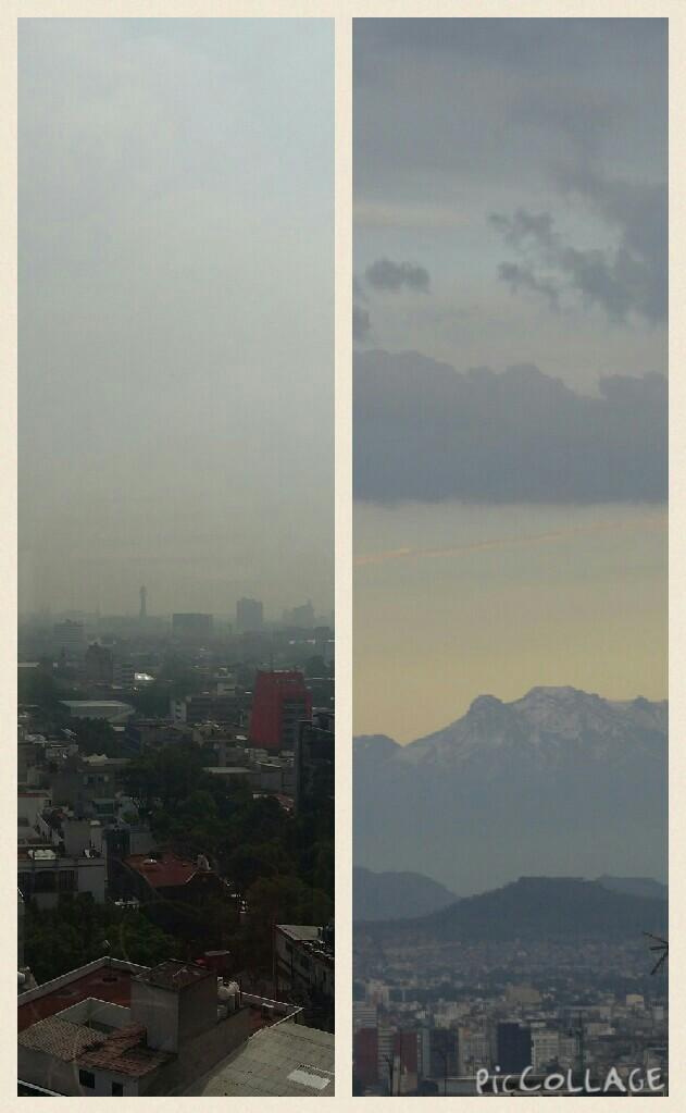 Foto: La imagen de la derecha es tomada desde la ciudad hacía Iztaccíhuatl un día festivo donde no hay tránsito, y la imagen de la izquierda fue tomada en día laboral.
