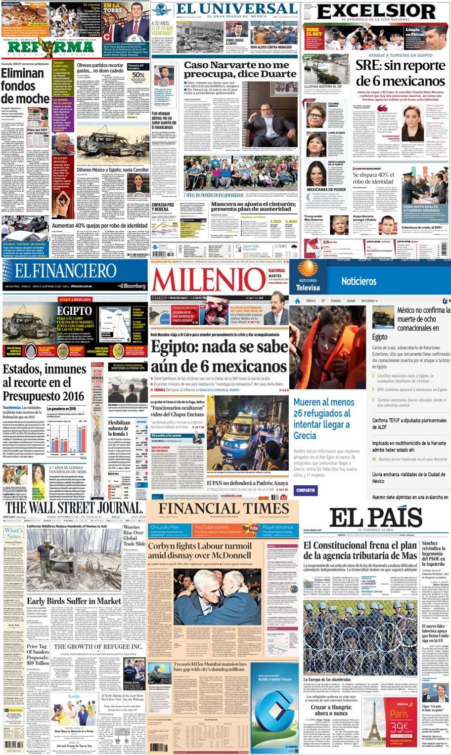 Las principales portadas en la prensa nacional e internacional del 15 de septiembre.
