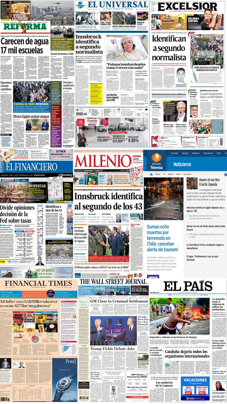 Las principales portadas en la prensa nacional e internacional del 17 de septiembre.