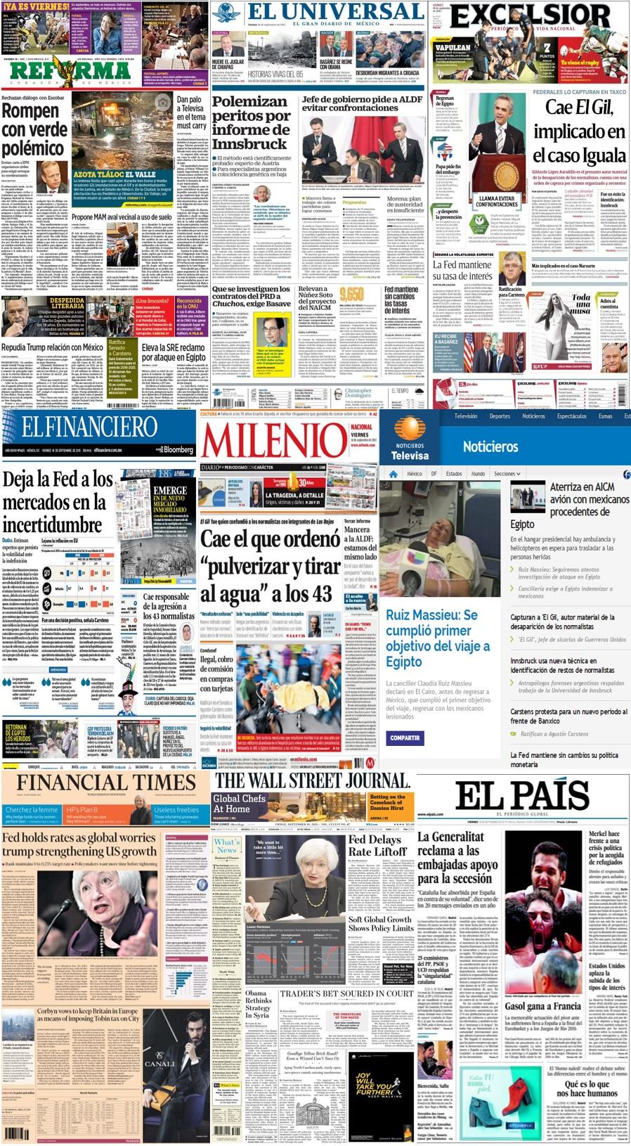 Las principales portadas en la prensa nacional e internacional del 18 de septiembre.