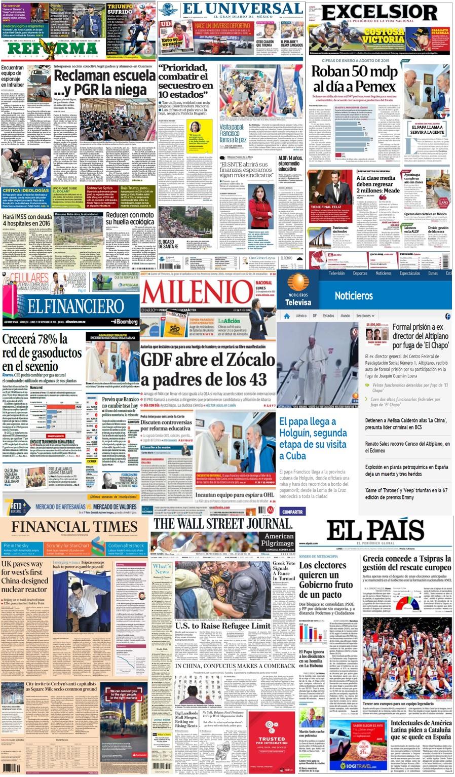 Las principales portadas en la prensa nacional e internacional del 21 de septiembre.