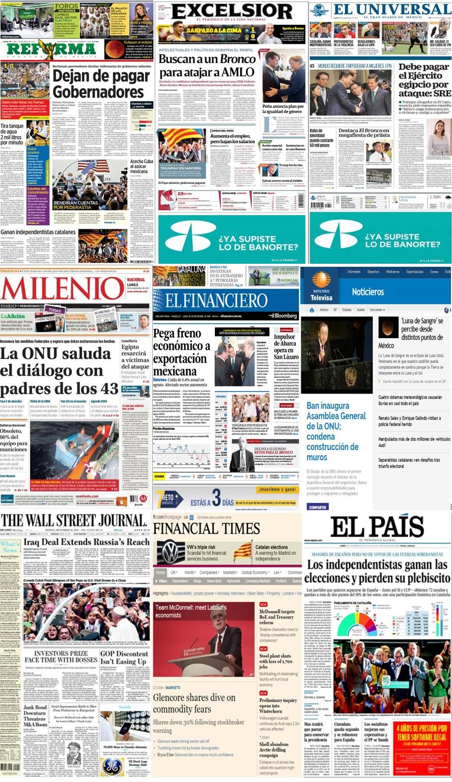 Las principales portadas en la prensa de México y el mundo del 28 de septiembre.