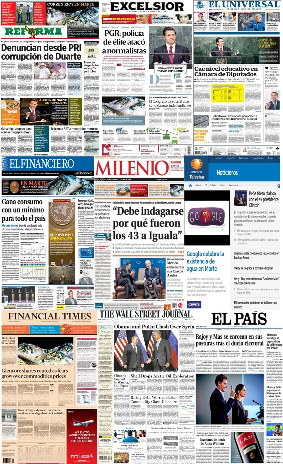 Las principales portadas en la prensa de México y el mundo del 29 de septiembre.