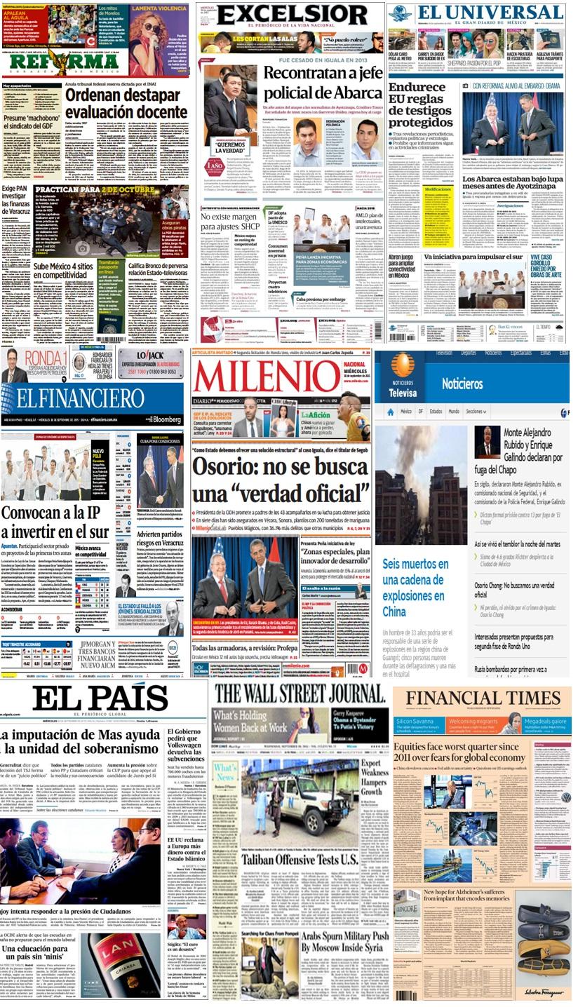 Las principales portadas en la prensa del 30 de septiembre.