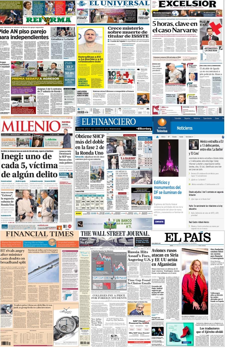 Las principales portadas en la prensa de México y el mundo del 1 de octubre.