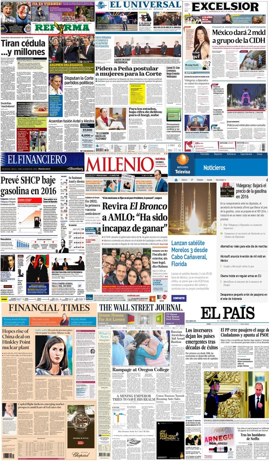 Las principales portadas en la prensa de México y el mundo del 2 de octubre.