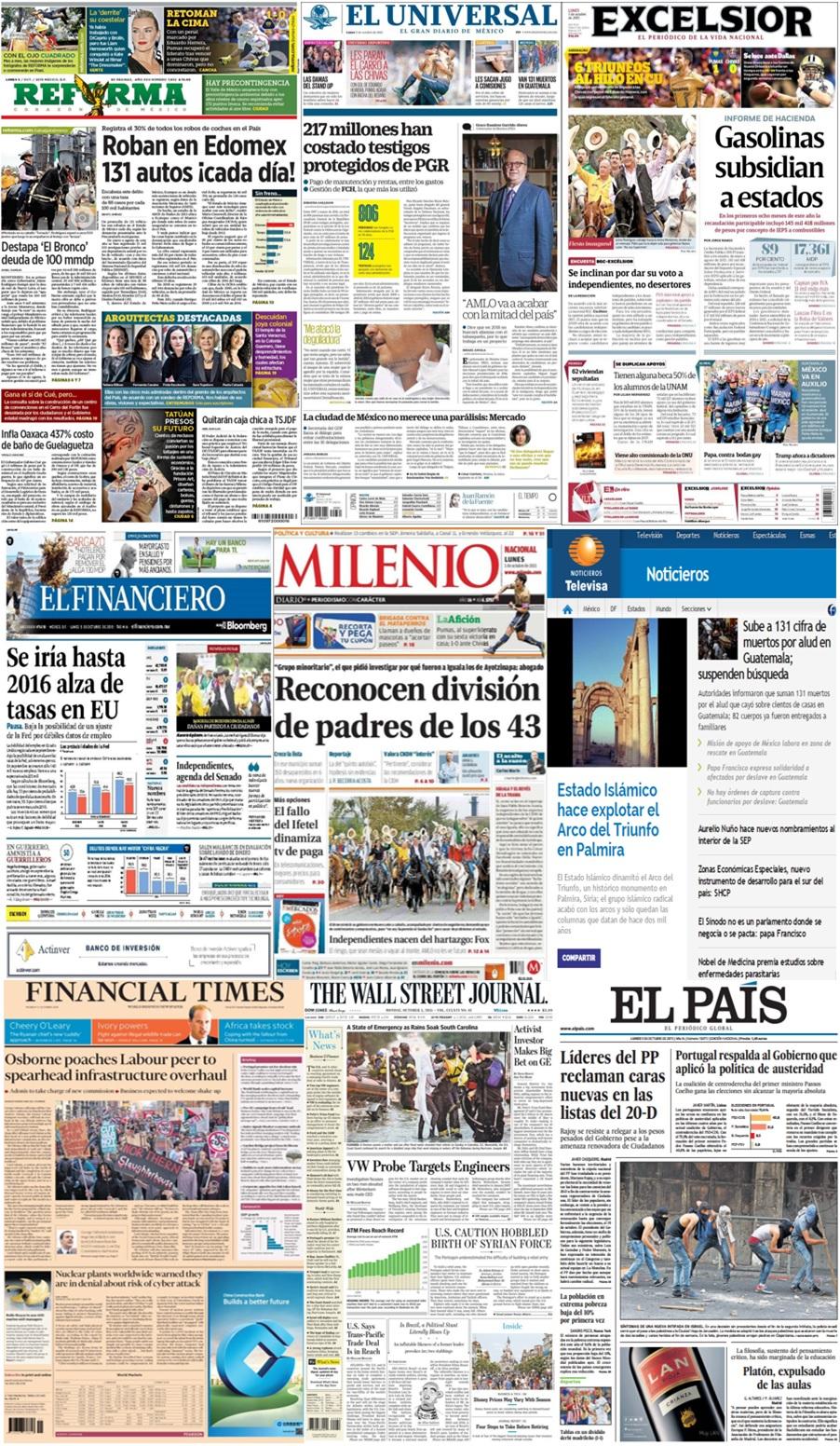 Las principales portadas en la prensa de México y el mundo del 5 de octubre.