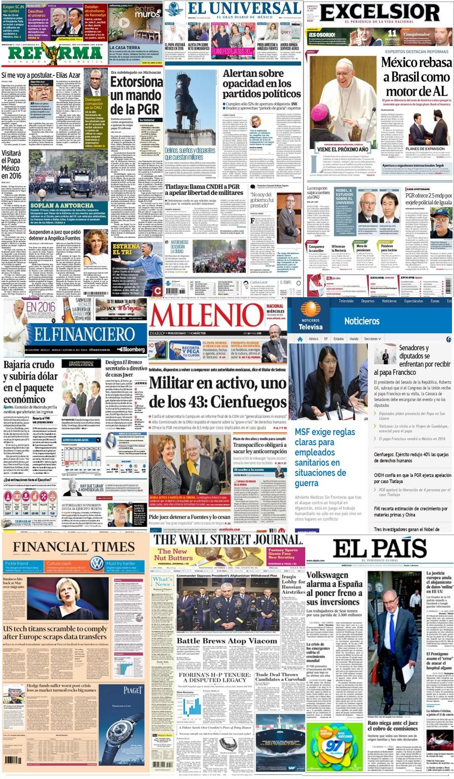 Las principales portadas en la prensa de México y el mundo del 7 de octubre.