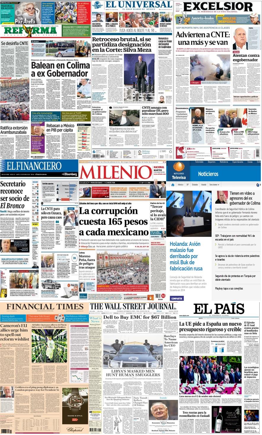 Las principales portadas en la prensa de México y el mundo del 13 de octubre.