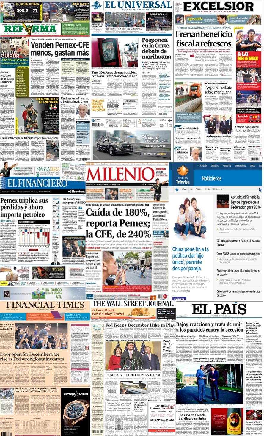 Las principales portadas en la prensa de México y el mundo del 29 de octubre.