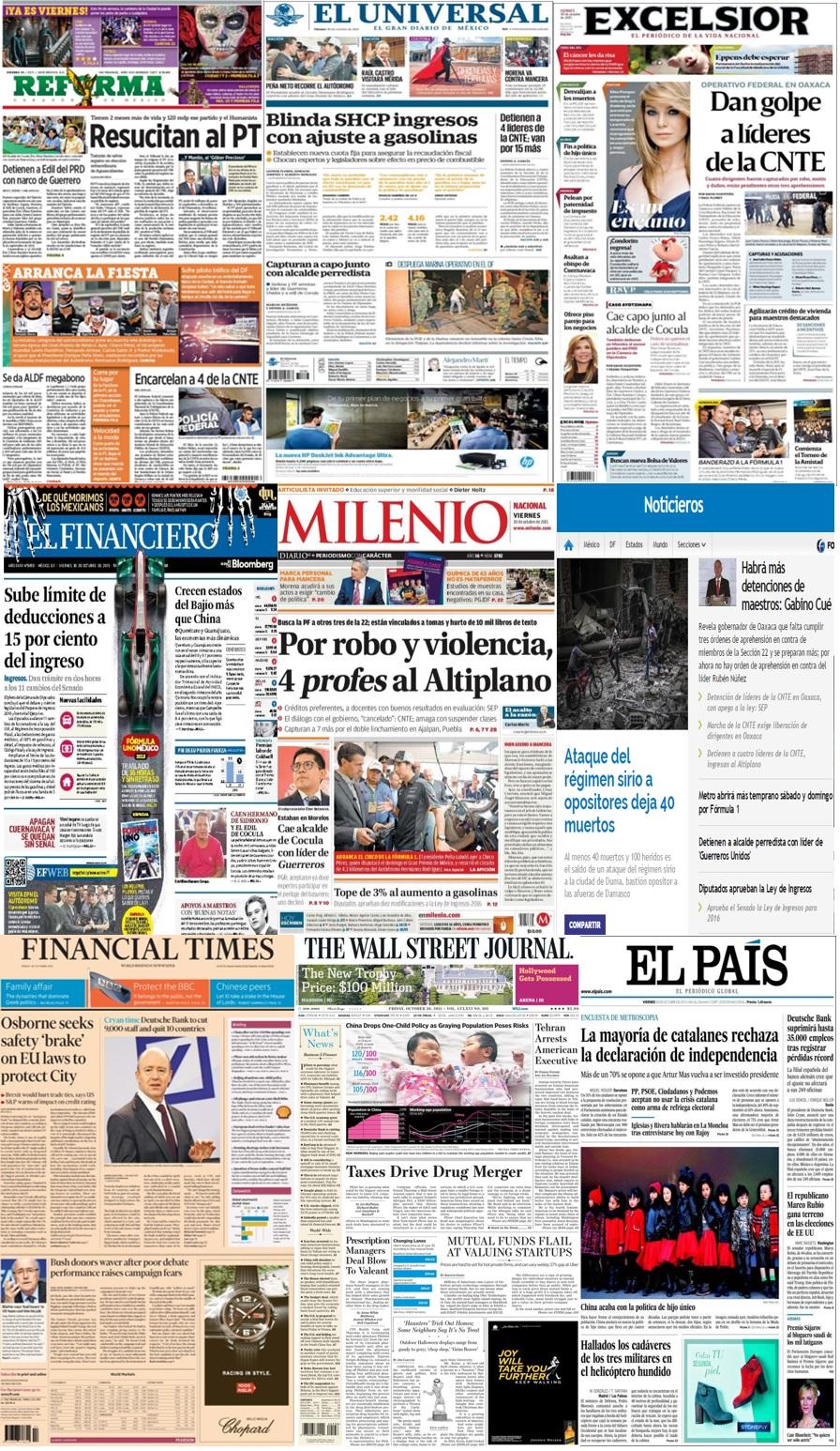 Las principales portadas en la prensa de México y el mundo del 30 de octubre.