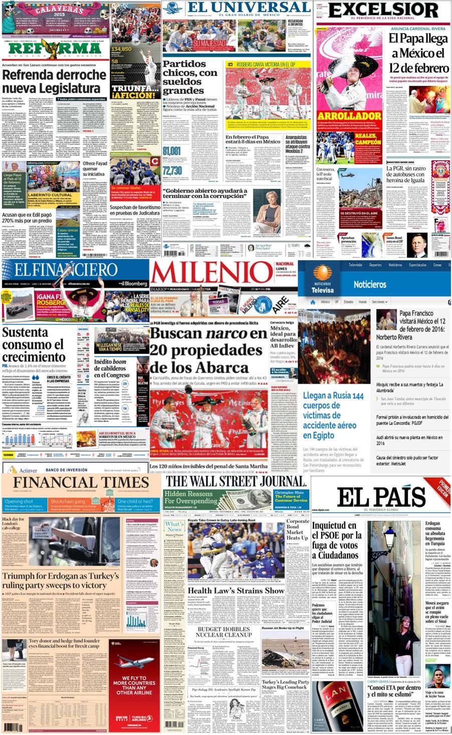 Las principales portadas en la prensa de México y el mundo del 2 de noviembre.