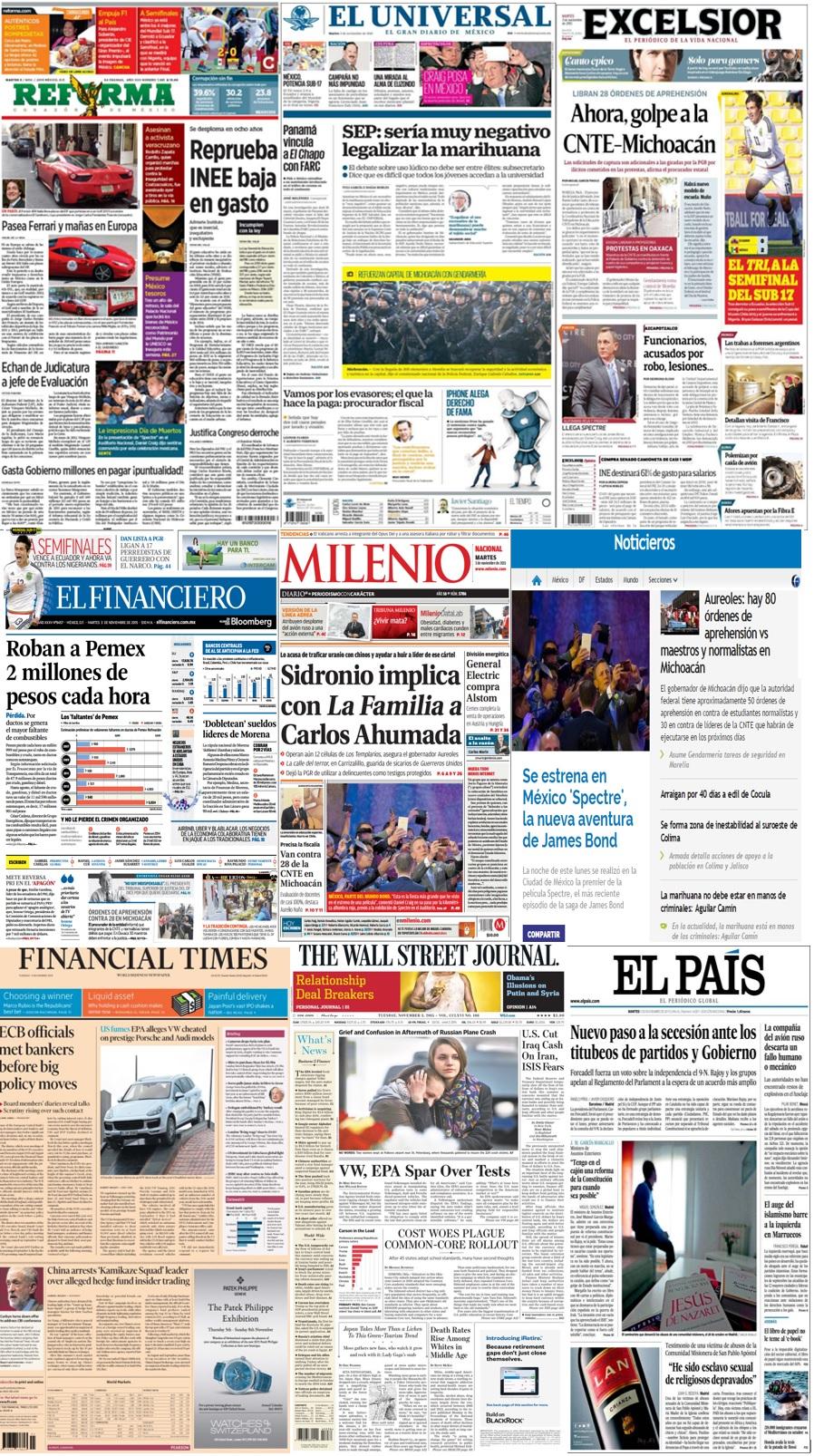 Las principales portadas en la prensa de México y el mundo del 3 de noviembre.